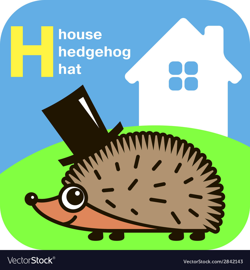 Abc house hedgehog hat vector | Price: 1 Credit (USD $1)