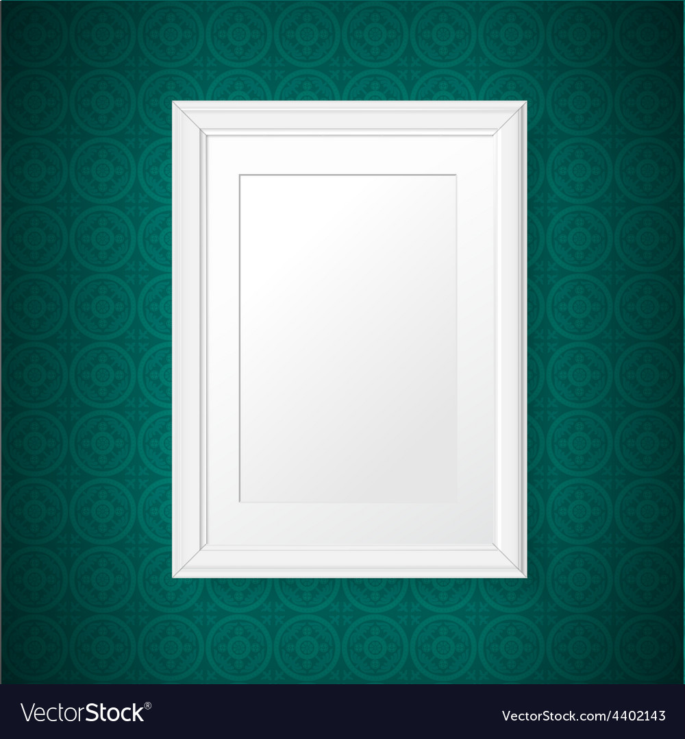 Antique white frame on the vintage wall vector | Price: 1 Credit (USD $1)
