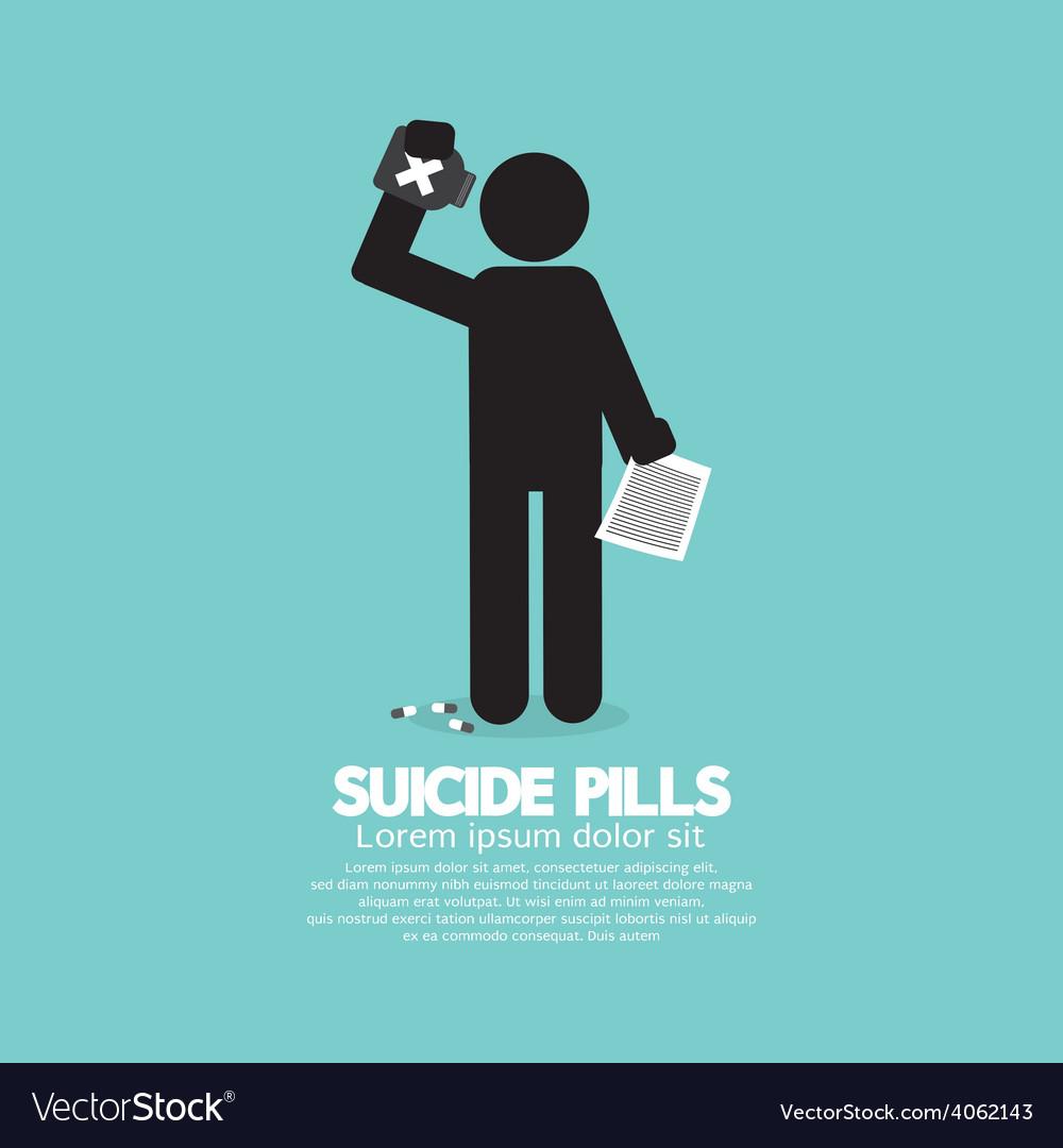 Black symbol suicide pills vector | Price: 1 Credit (USD $1)