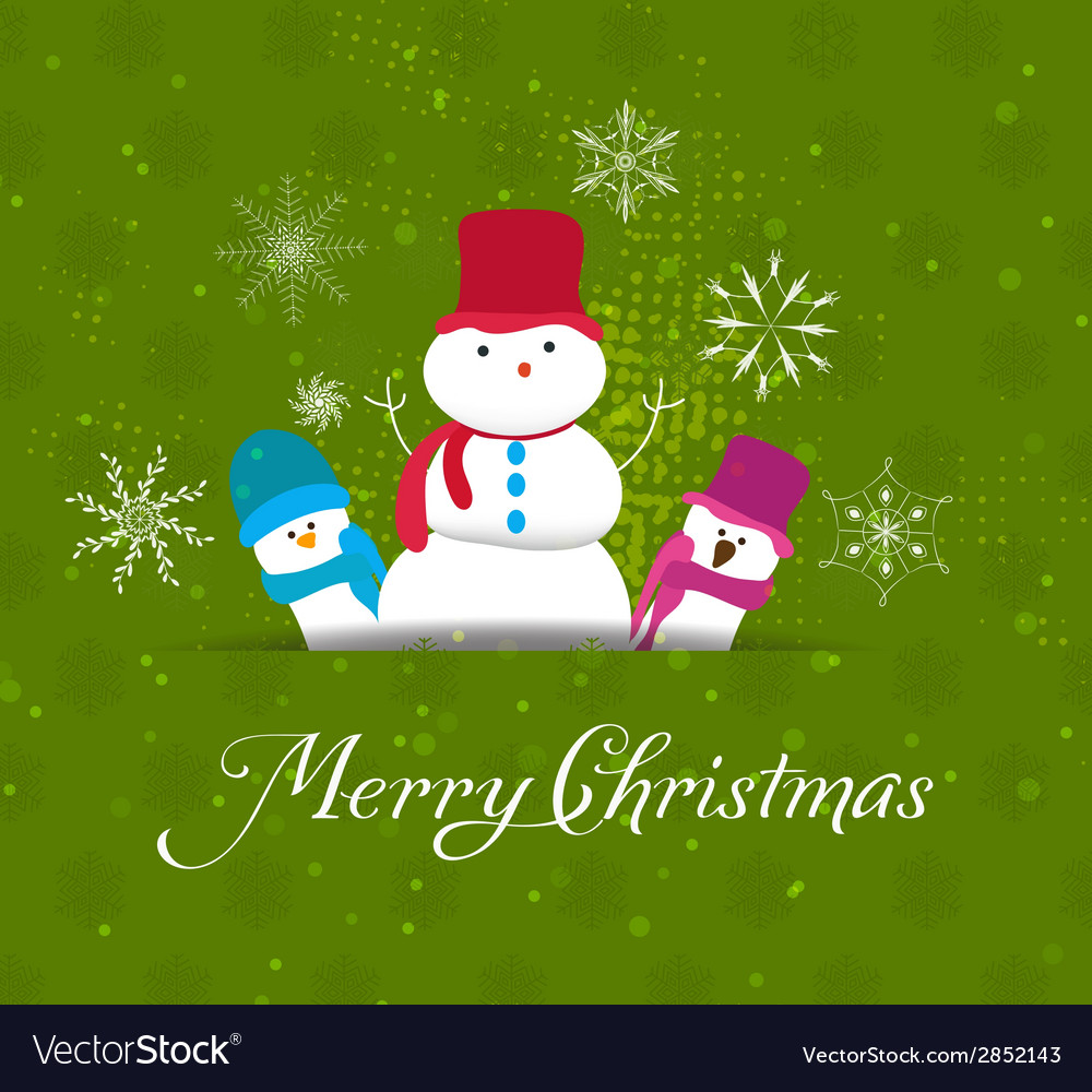Christmas card with snowman family vector | Price: 1 Credit (USD $1)