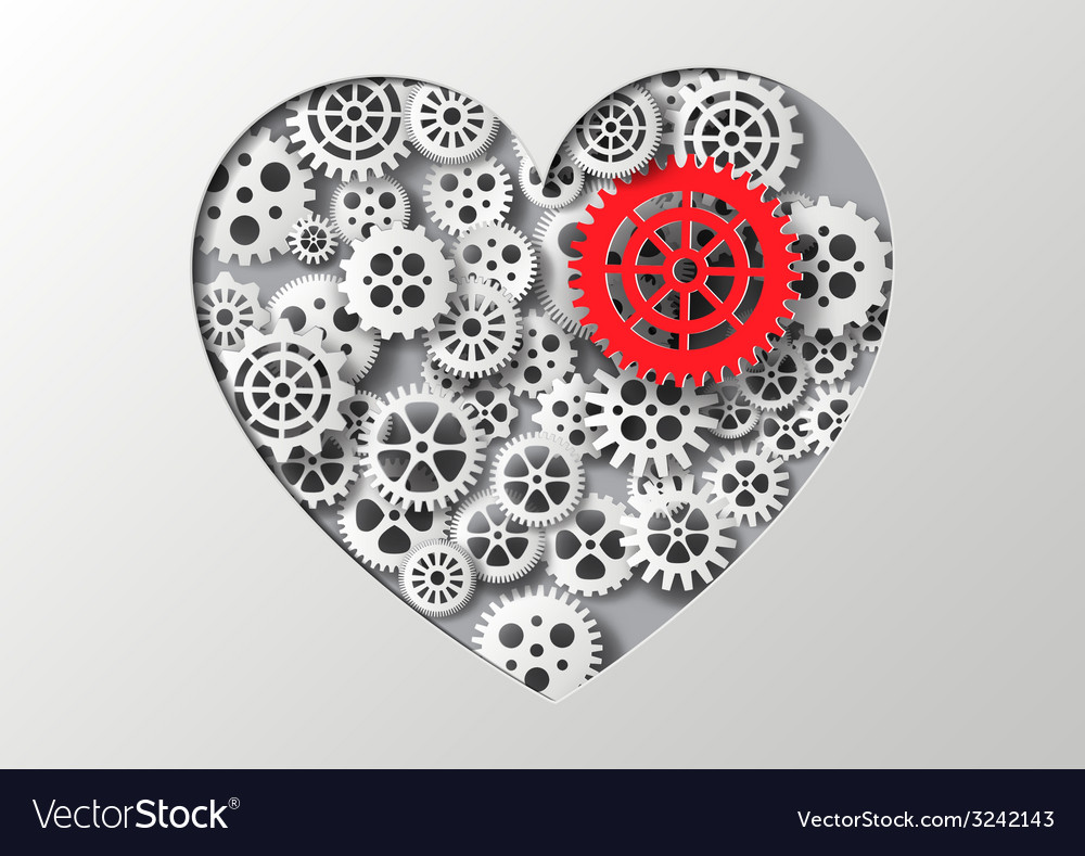 Heart and gear vector | Price: 1 Credit (USD $1)