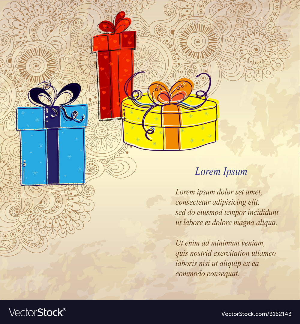 Holiday card with three gift boxes vector | Price: 1 Credit (USD $1)