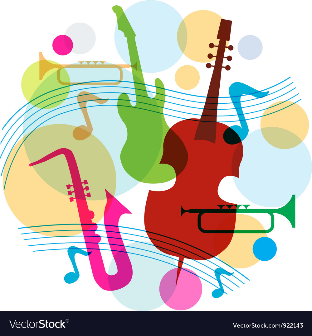 Music template with notes guitar and saxophone vector | Price: 1 Credit (USD $1)