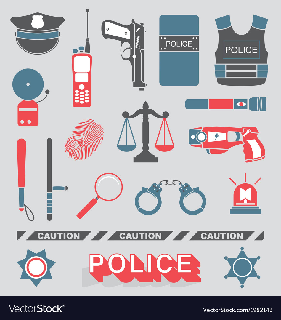 Police officer and detective icons vector | Price: 1 Credit (USD $1)