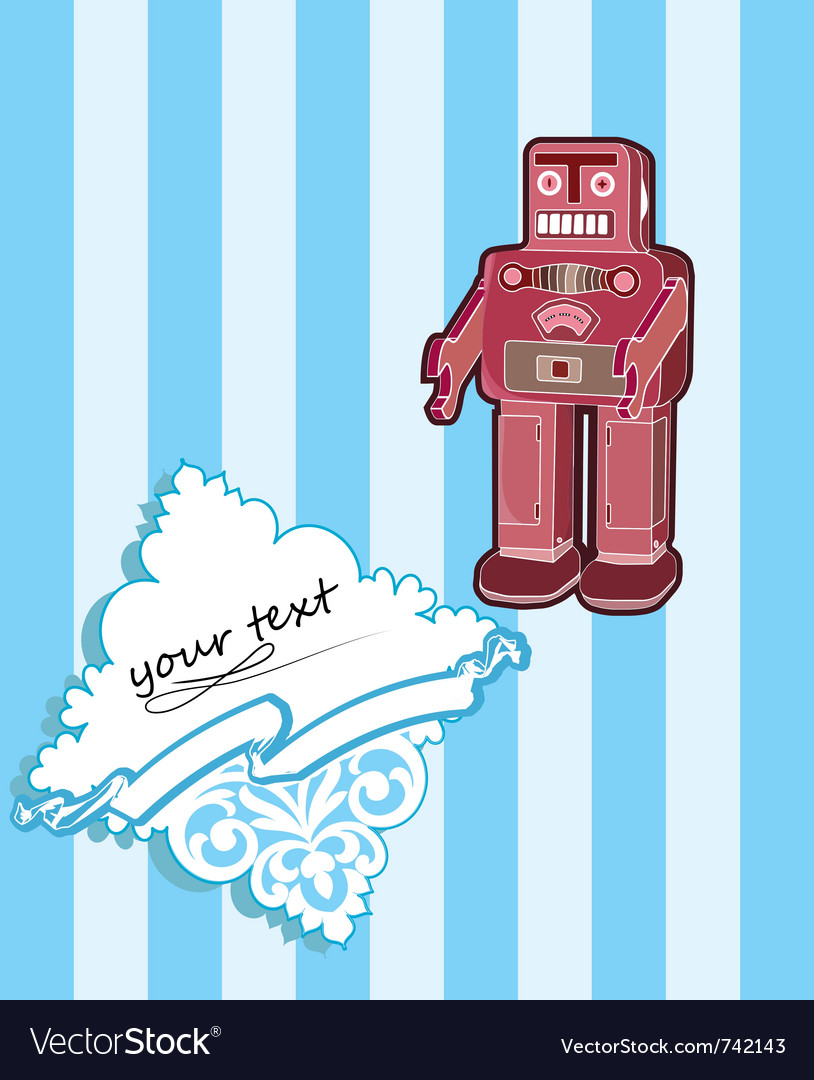 Robot card with baroque elements vector | Price: 1 Credit (USD $1)