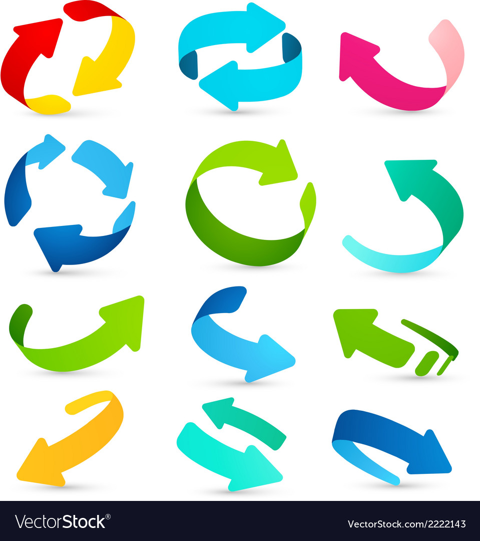 Set of colored arrows icons vector | Price: 1 Credit (USD $1)
