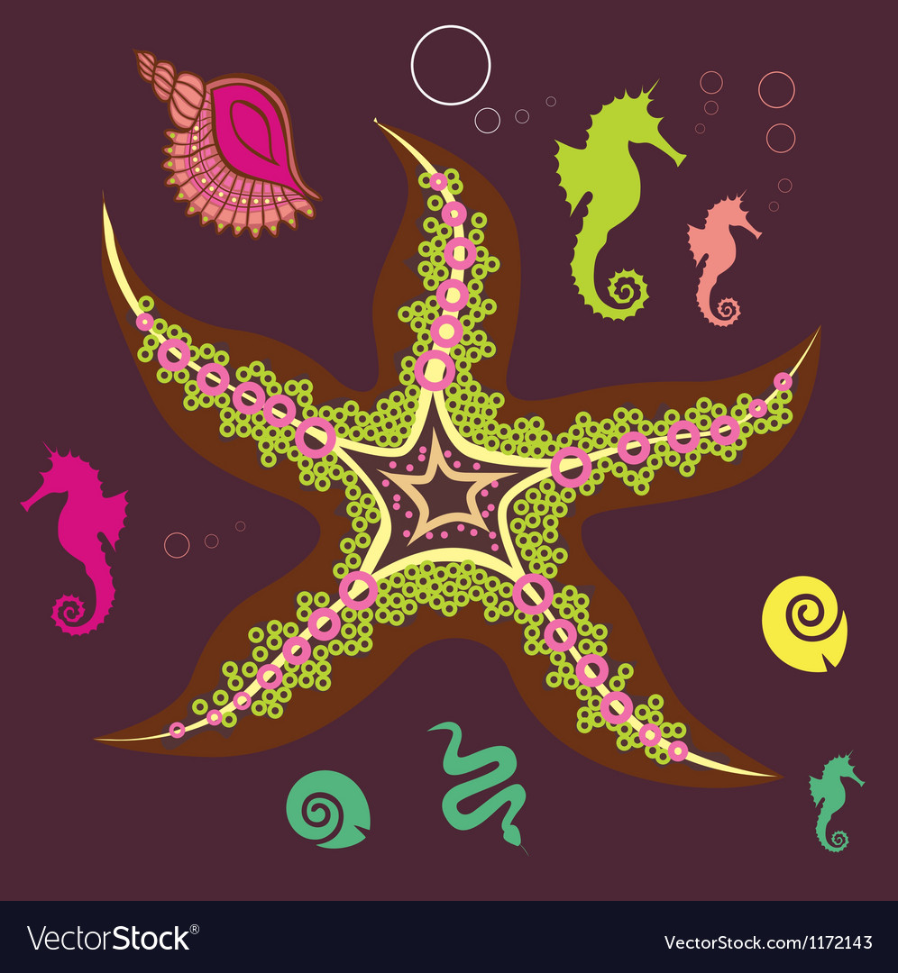 Underwater star print vector | Price: 1 Credit (USD $1)