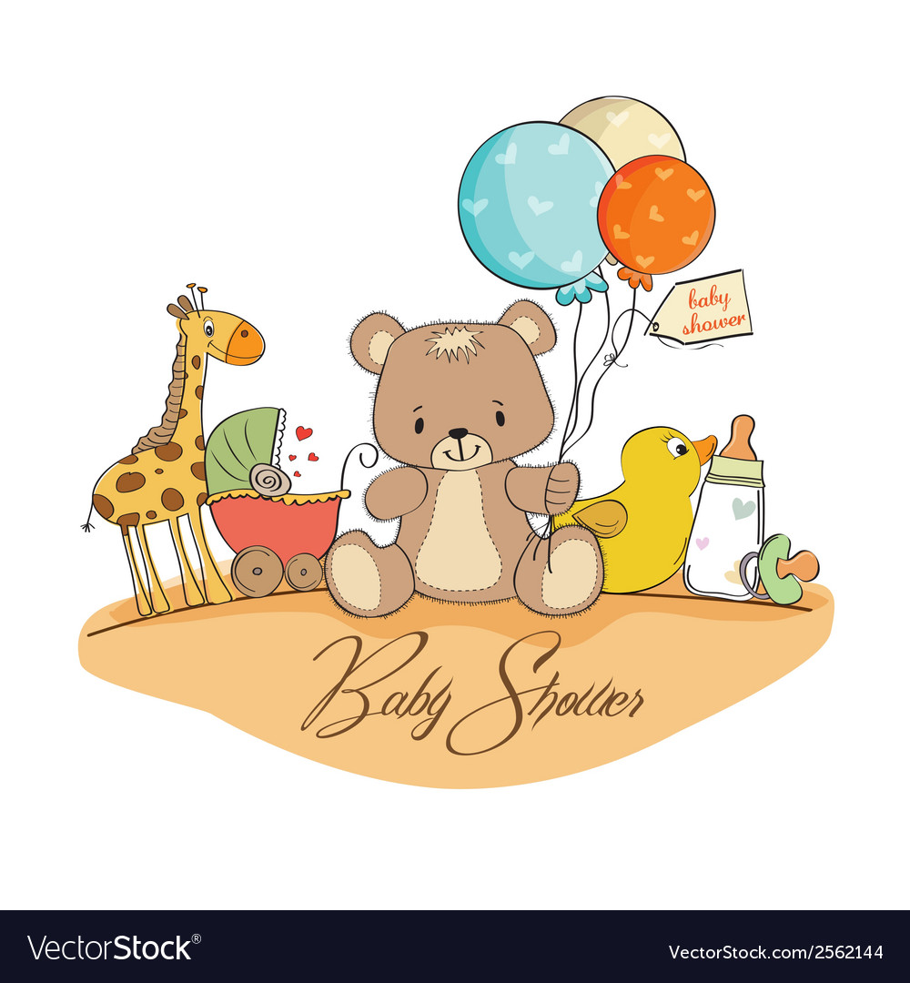 Baby shower card with toys vector | Price: 1 Credit (USD $1)