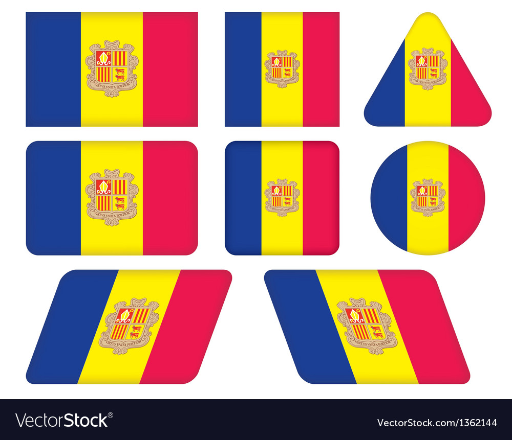 Buttons with flag of andorra vector | Price: 1 Credit (USD $1)
