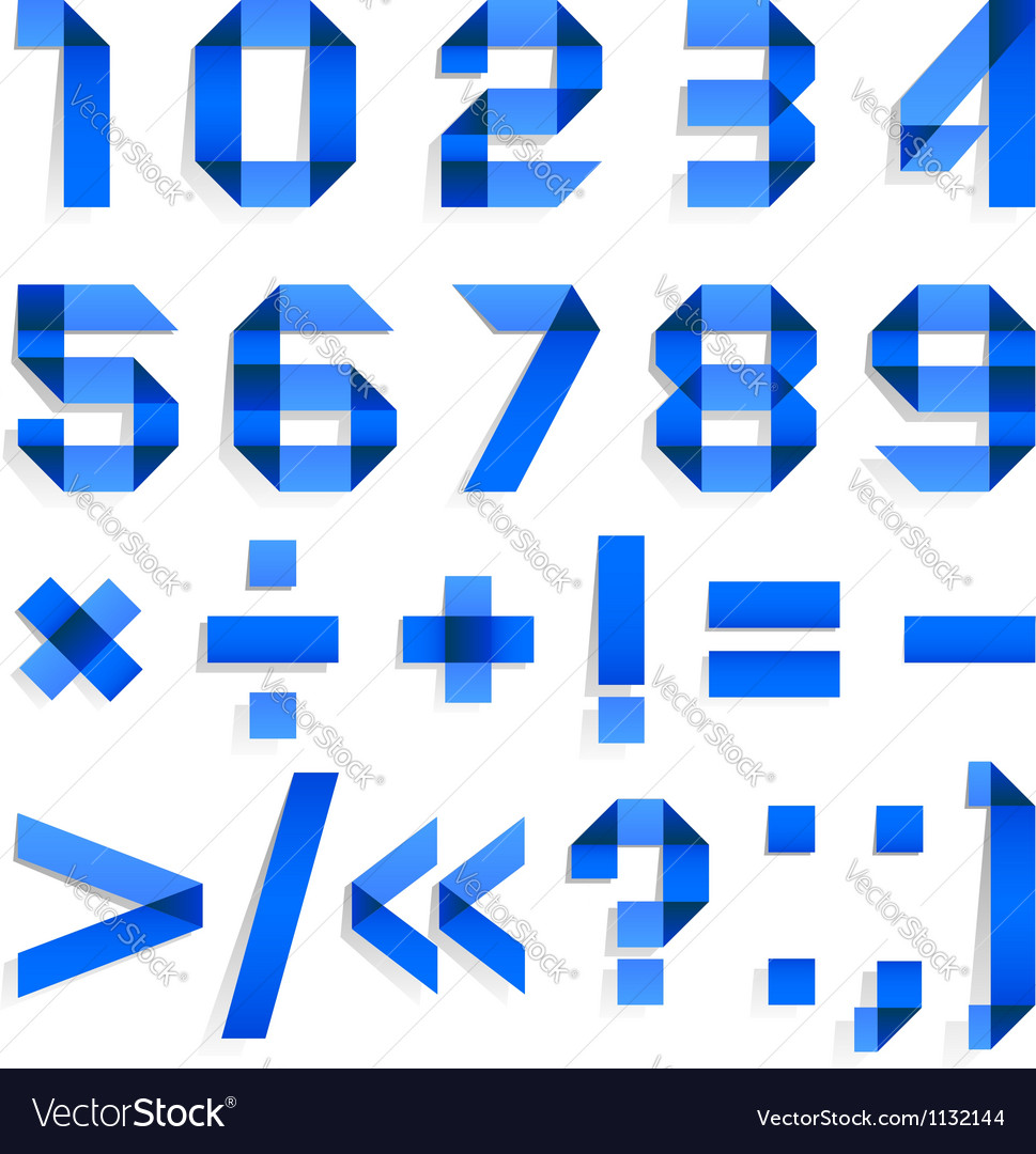 Font folded from colored paper - arabic numerals vector | Price: 1 Credit (USD $1)