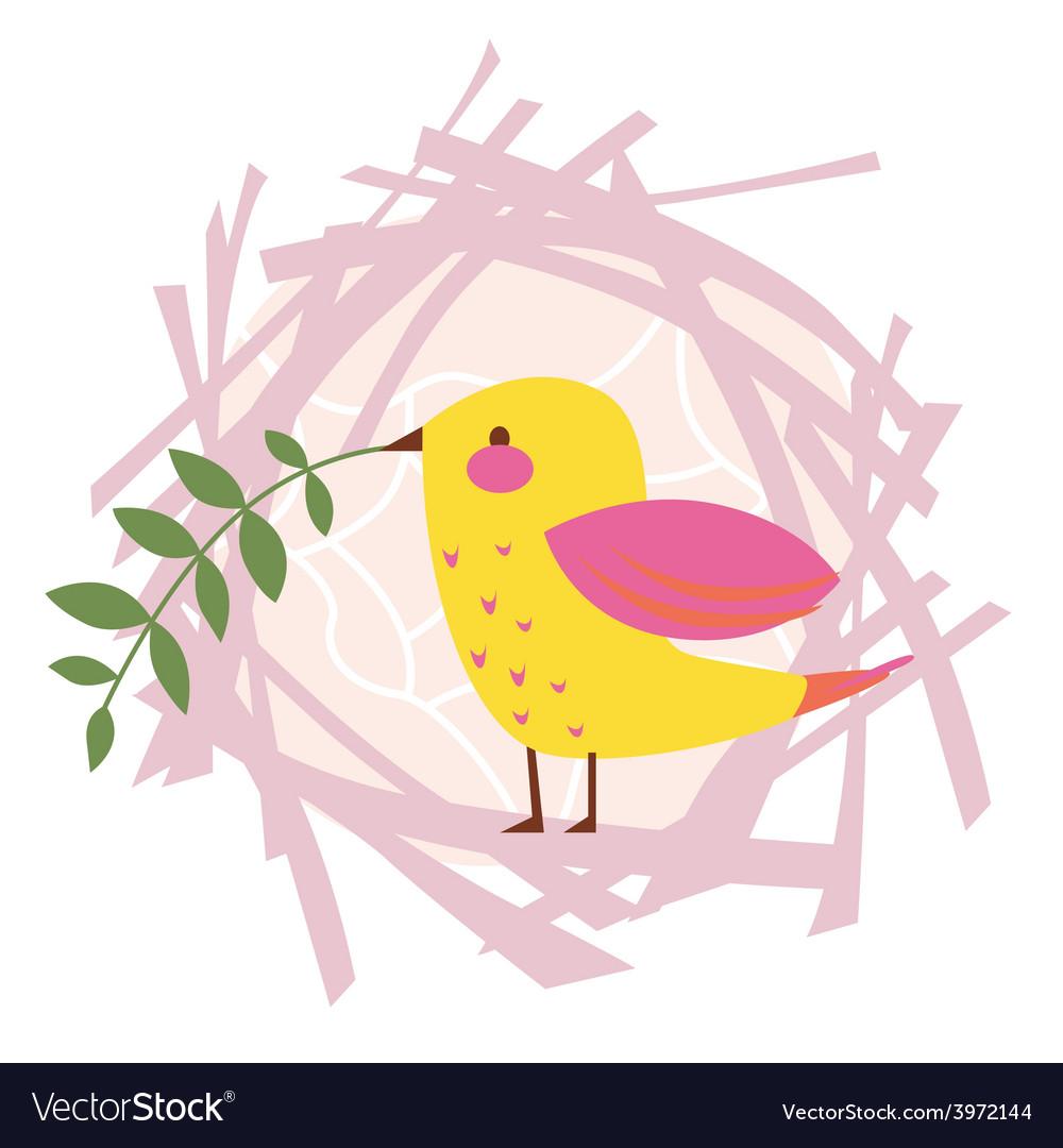 Little yellow bird spring design vector   Price: 1 Credit (USD $1)