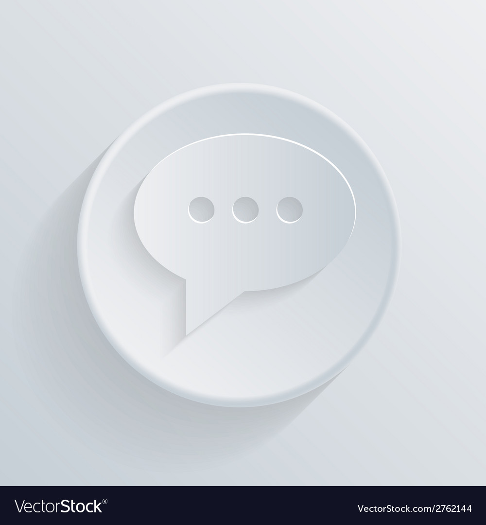 Paper flat circle icon cloud of speaking dialogue vector | Price: 1 Credit (USD $1)