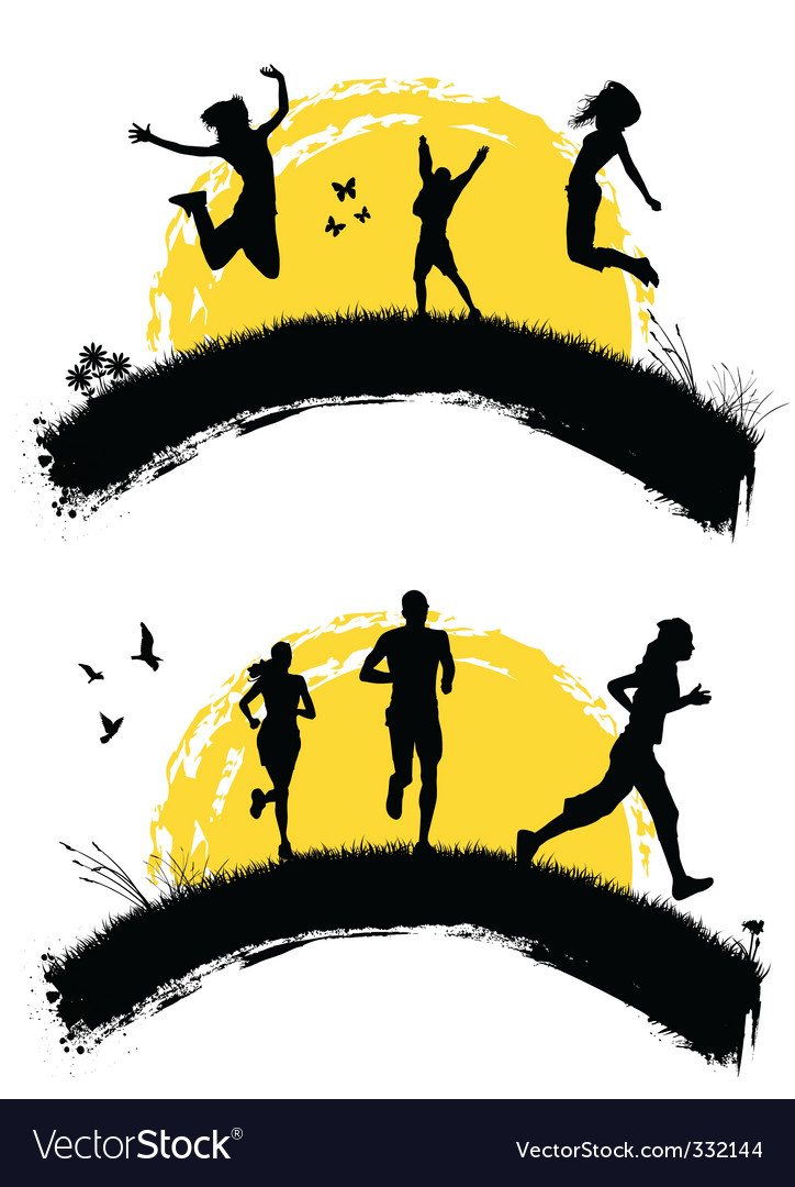 People jumping silhouette vector | Price: 1 Credit (USD $1)