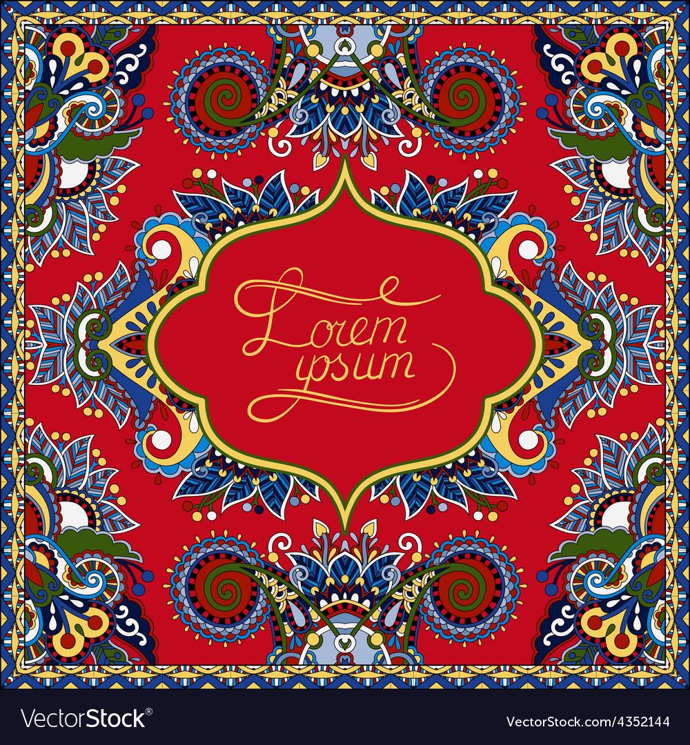 Red decorative pattern of ukrainian ethnic carpet vector
