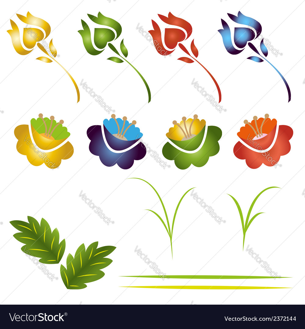 Set of flowers and leaves vector | Price: 1 Credit (USD $1)