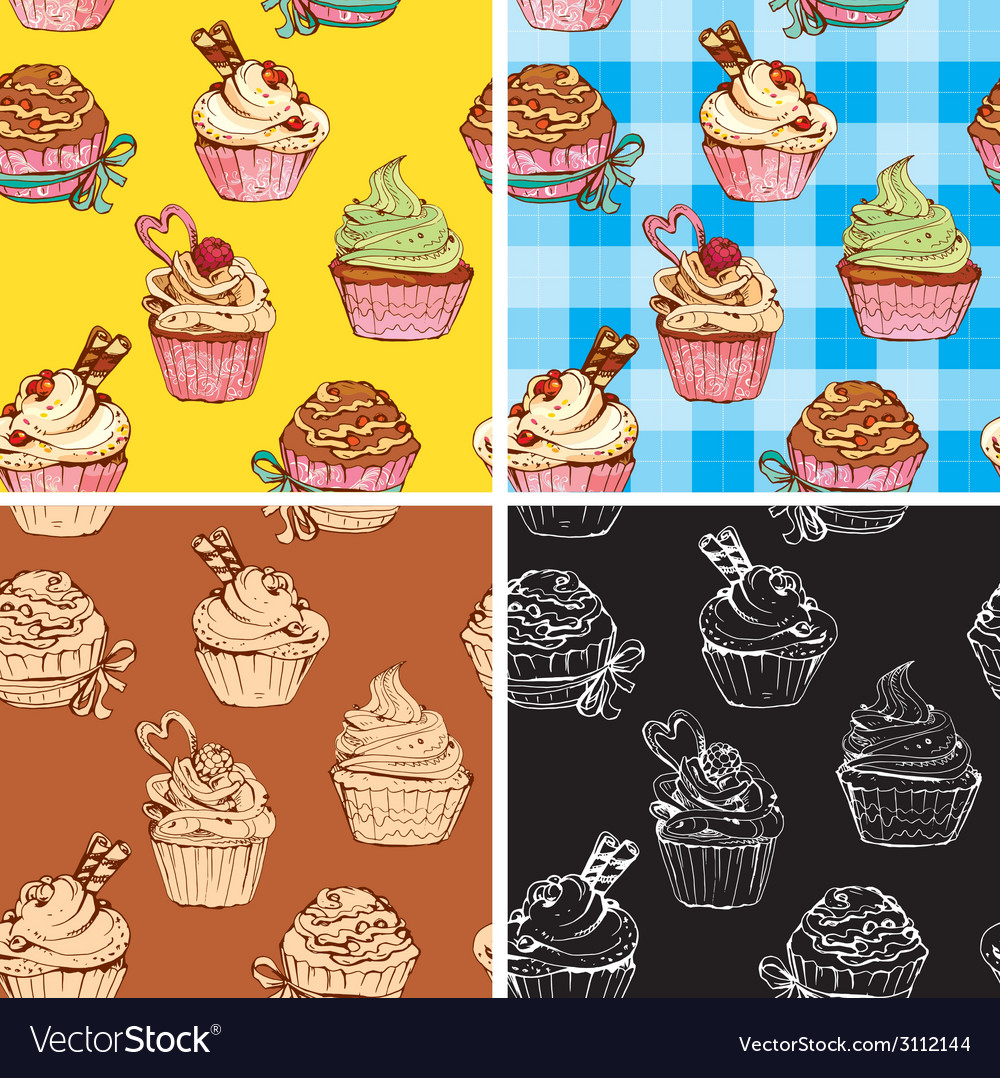 Set of seamless patterns with decorated sweet cupc vector | Price: 1 Credit (USD $1)