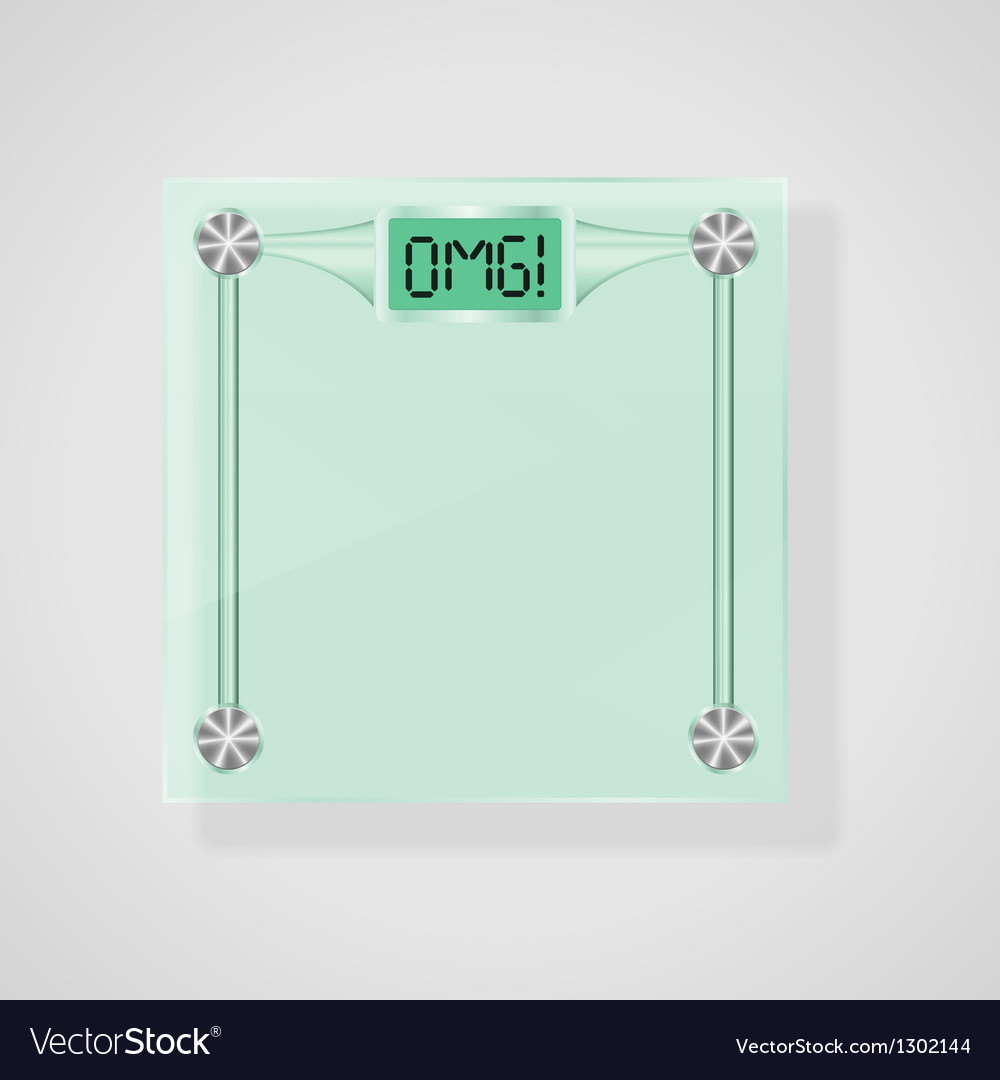 Transparent glass scales with omg text weight loss vector | Price: 1 Credit (USD $1)