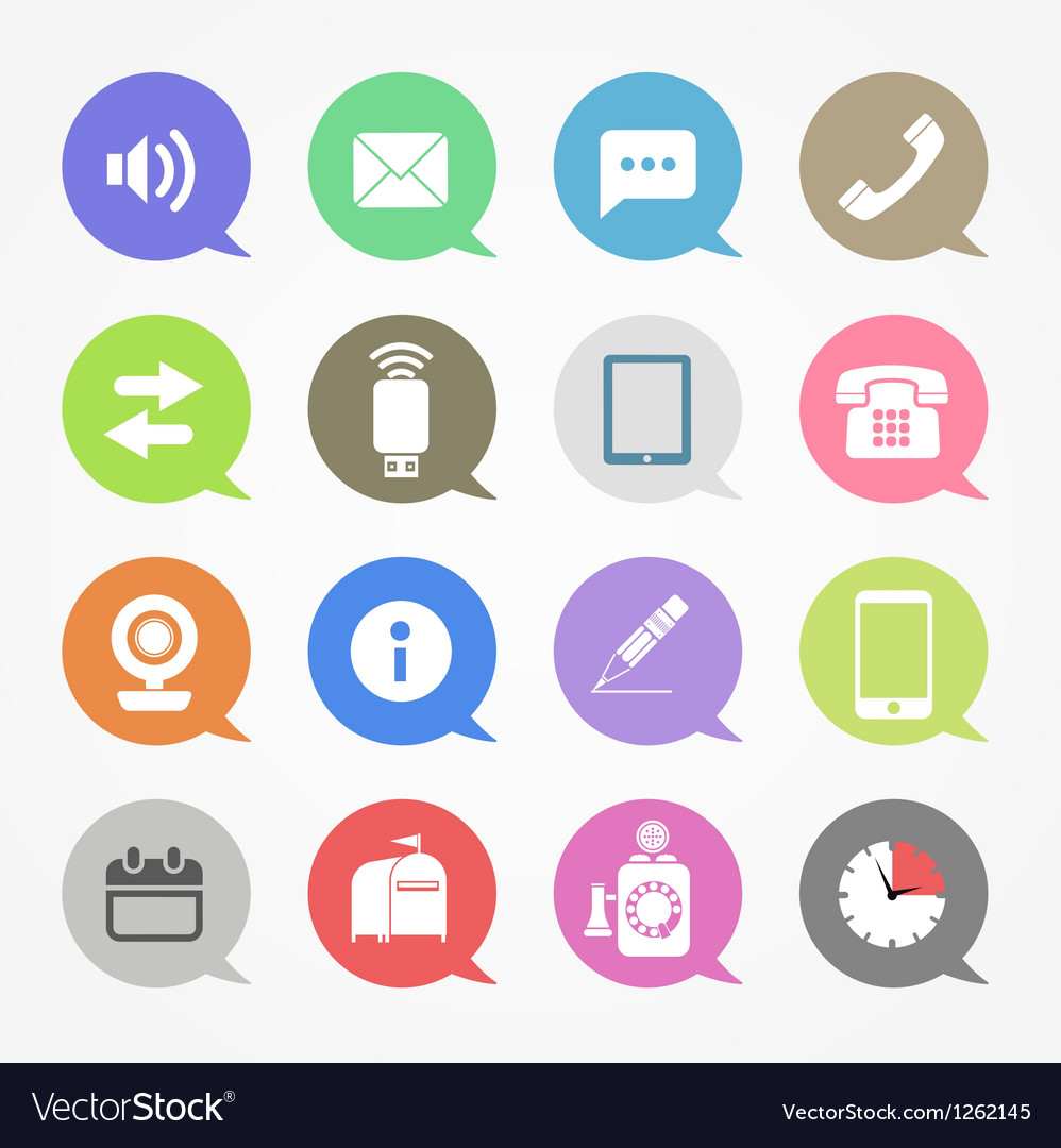 Communication web icons set in color speech clouds vector | Price: 1 Credit (USD $1)