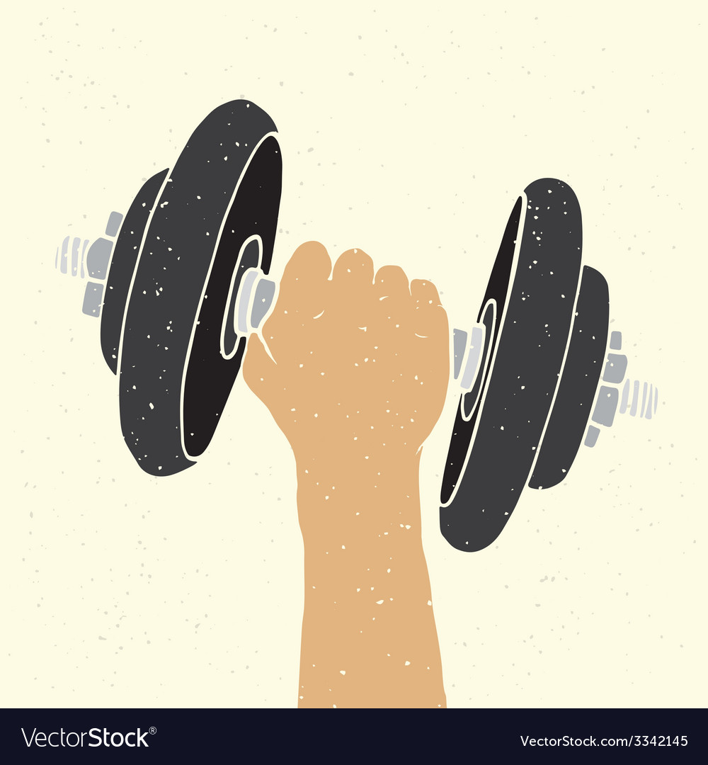 Dumbbell and hand vector | Price: 1 Credit (USD $1)