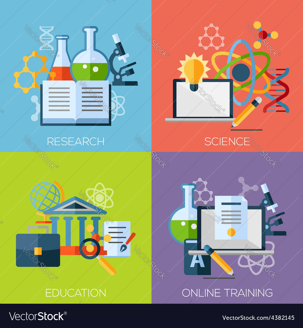 Flat design concepts for research science vector | Price: 1 Credit (USD $1)