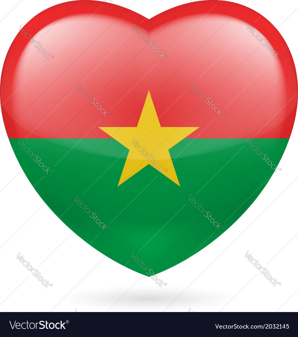 Heart icon of burkina faso vector | Price: 1 Credit (USD $1)