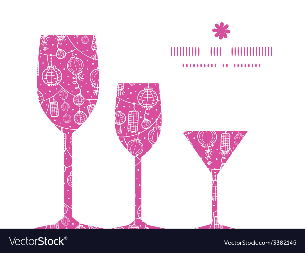 Holiday lanterns line art three wine glasses vector | Price: 1 Credit (USD $1)