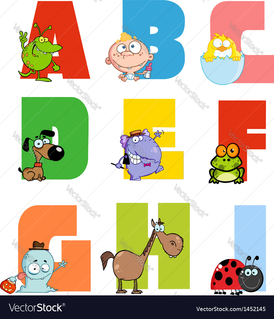 Joyful cartoon alphabet collection 1 vector | Price: 3 Credit (USD $3)