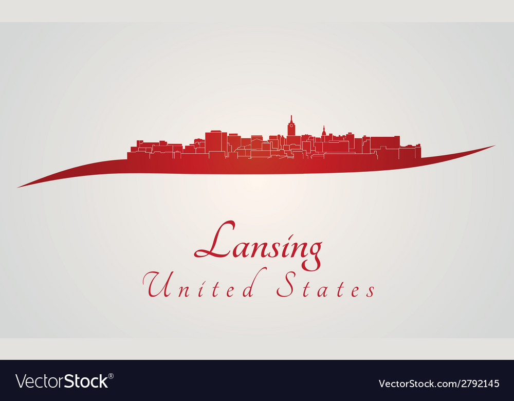 Lansing skyline in red vector | Price: 1 Credit (USD $1)
