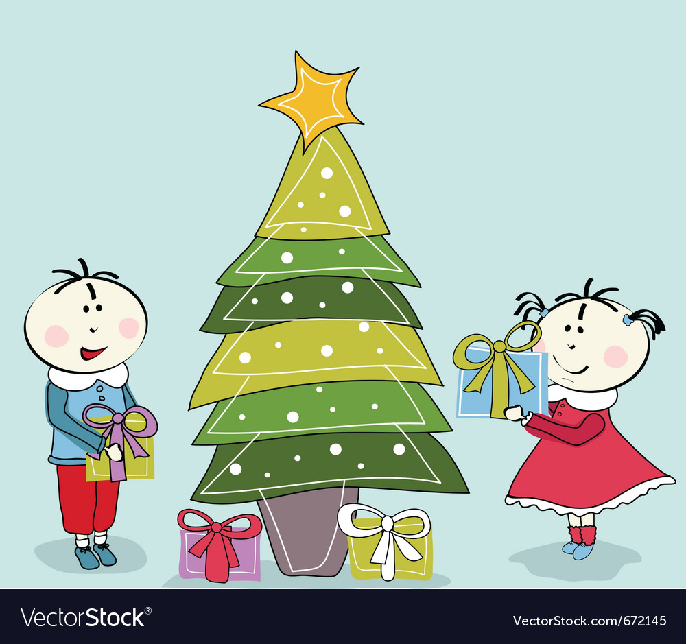 Little girl little boy and christmas tree vector | Price: 1 Credit (USD $1)