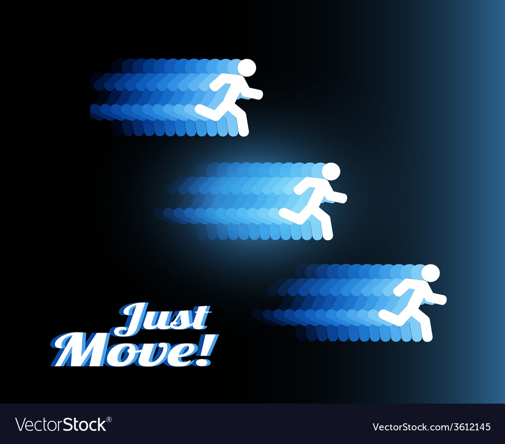 Neon silhouettes of three people running fast vector | Price: 1 Credit (USD $1)