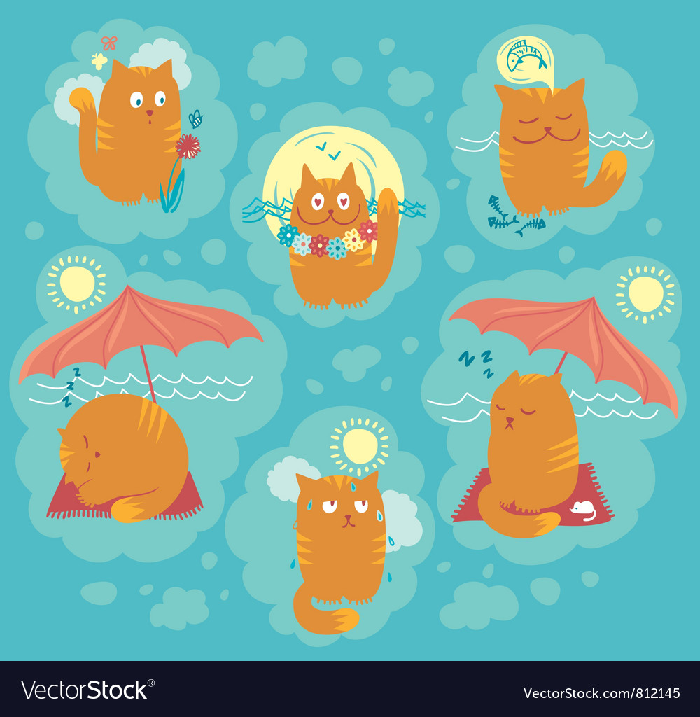 Summer cats vector | Price: 3 Credit (USD $3)