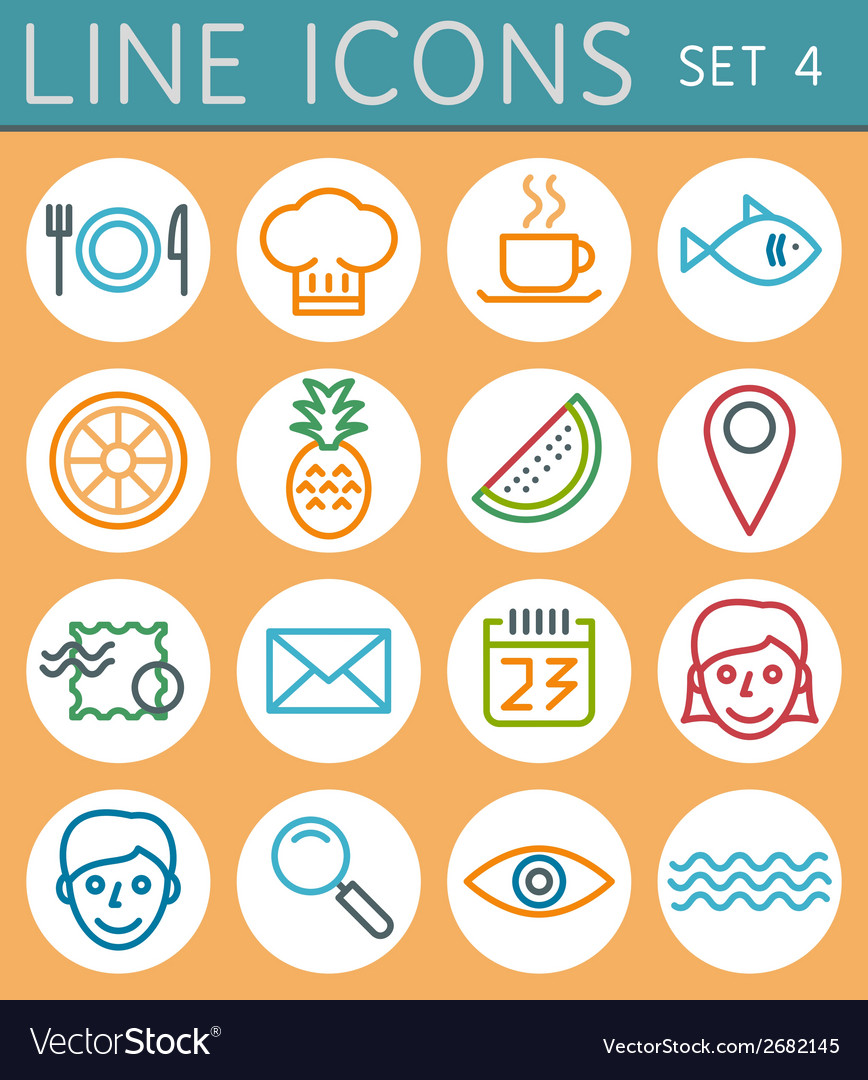 Travel line icons set web design elements vector | Price: 1 Credit (USD $1)
