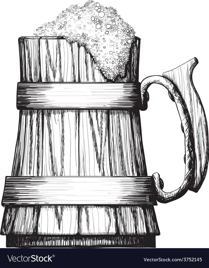 Wooden mug of beer vector | Price: 1 Credit (USD $1)