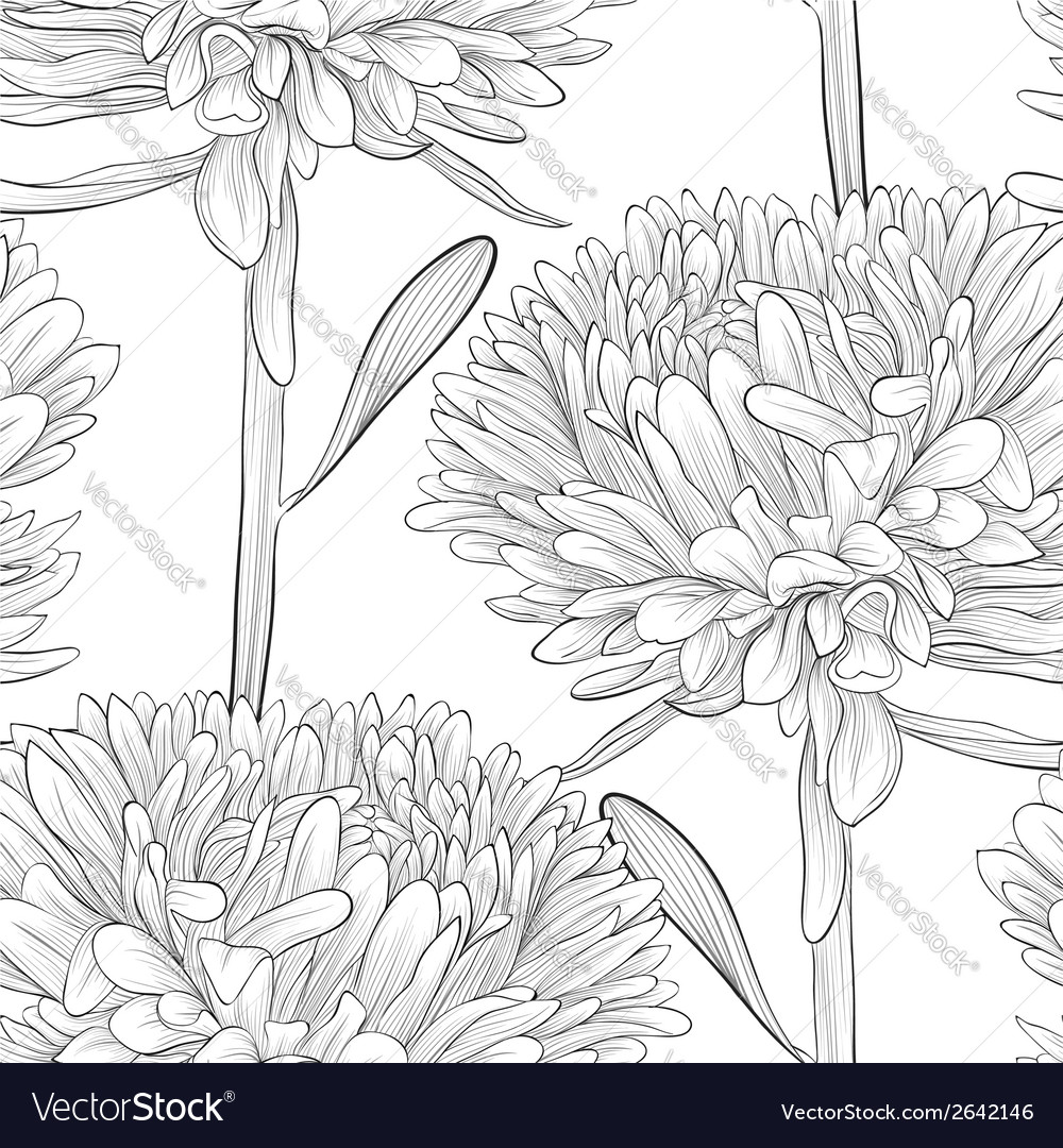 Black and white seamless background with flowers vector | Price: 1 Credit (USD $1)