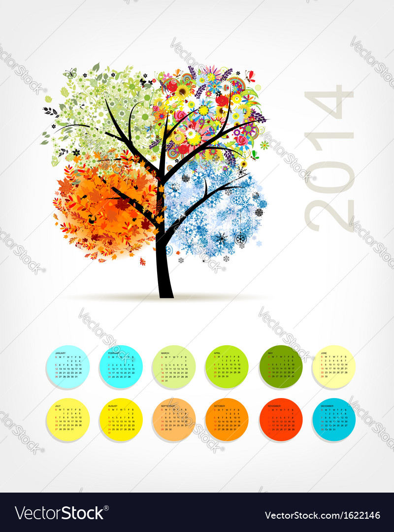 Calendar 2014 with four season tree for your vector | Price: 1 Credit (USD $1)