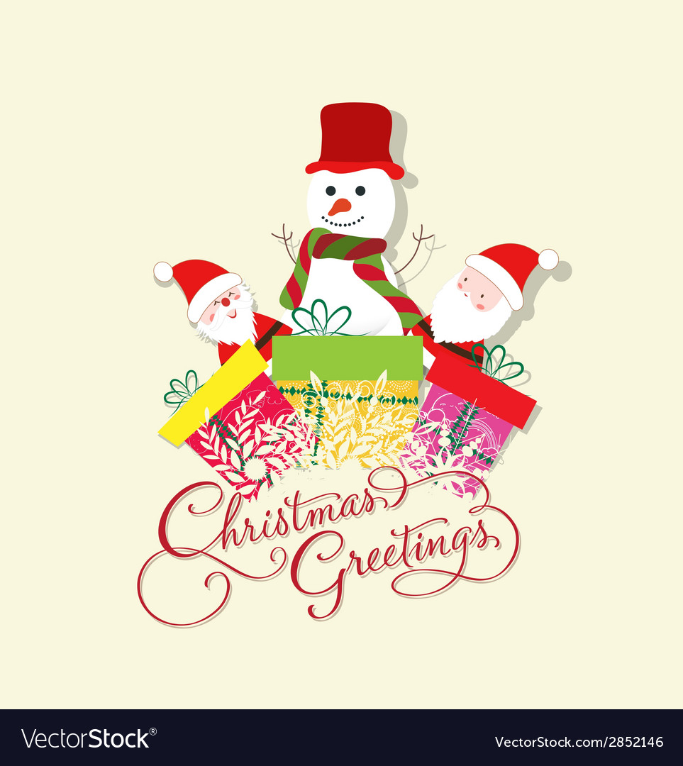 Christmas card with santa claus snowman and gift vector | Price: 1 Credit (USD $1)