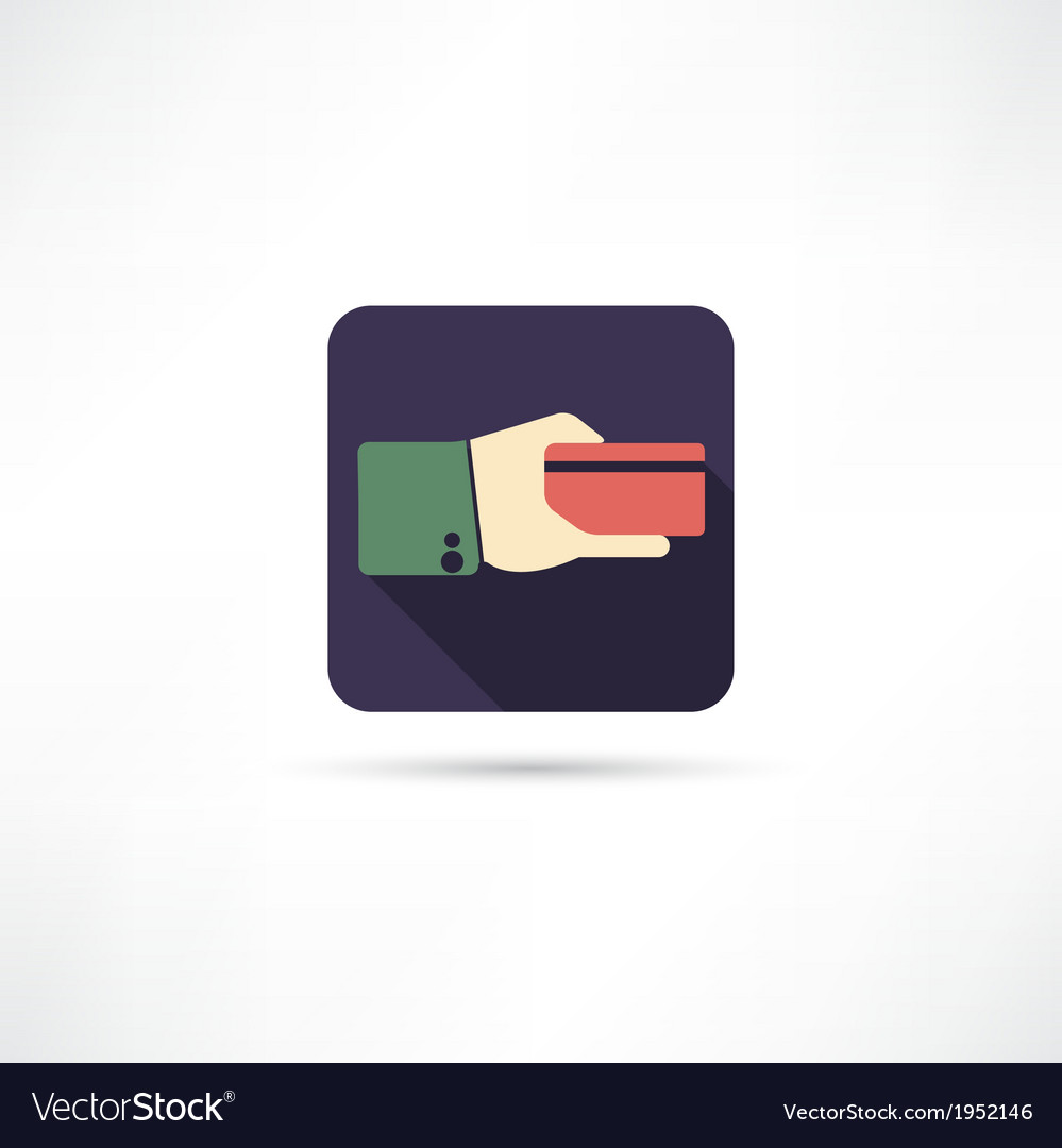 Credit card in a hand icon vector | Price: 1 Credit (USD $1)