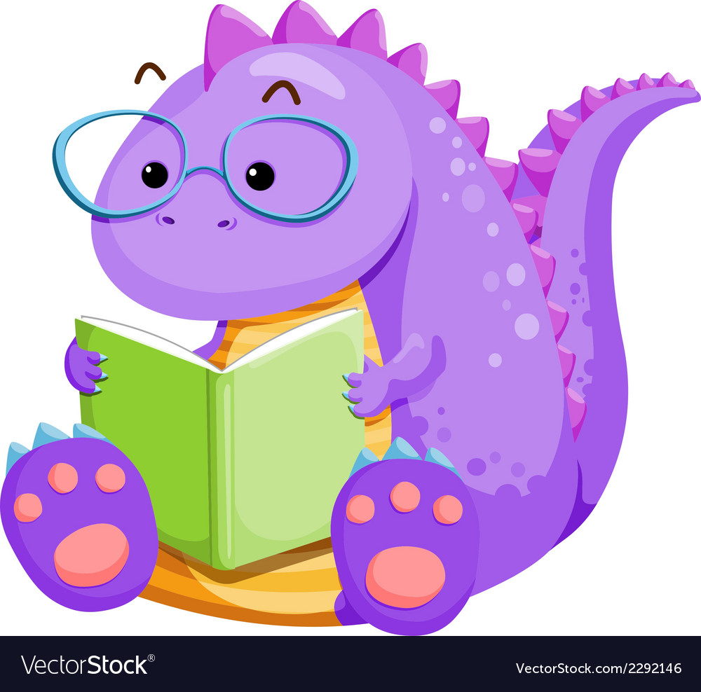 Dinosouar reading vector | Price: 1 Credit (USD $1)