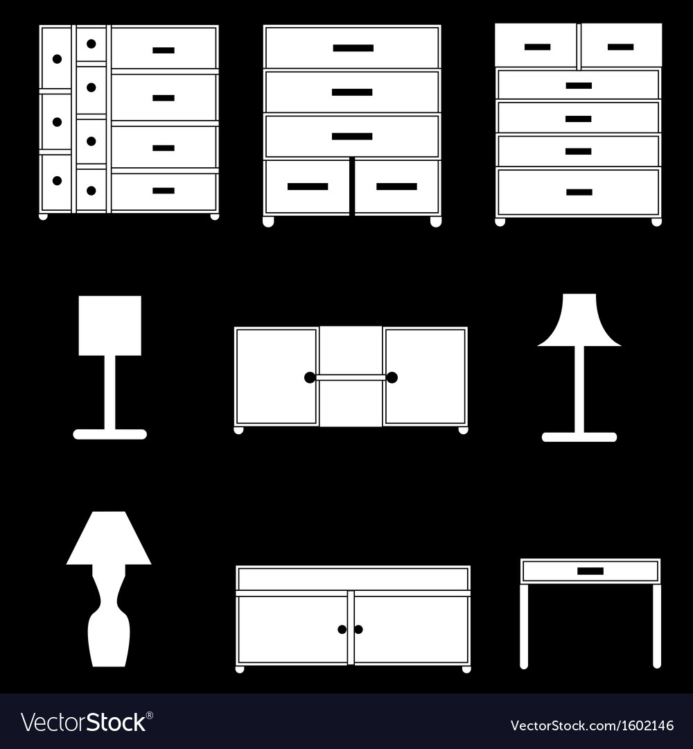 Furniture icons set vector | Price: 1 Credit (USD $1)