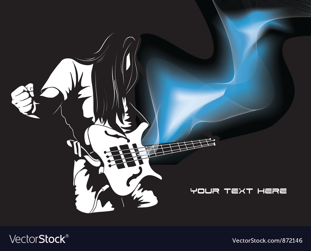 Man with guitar and wave vector | Price: 1 Credit (USD $1)