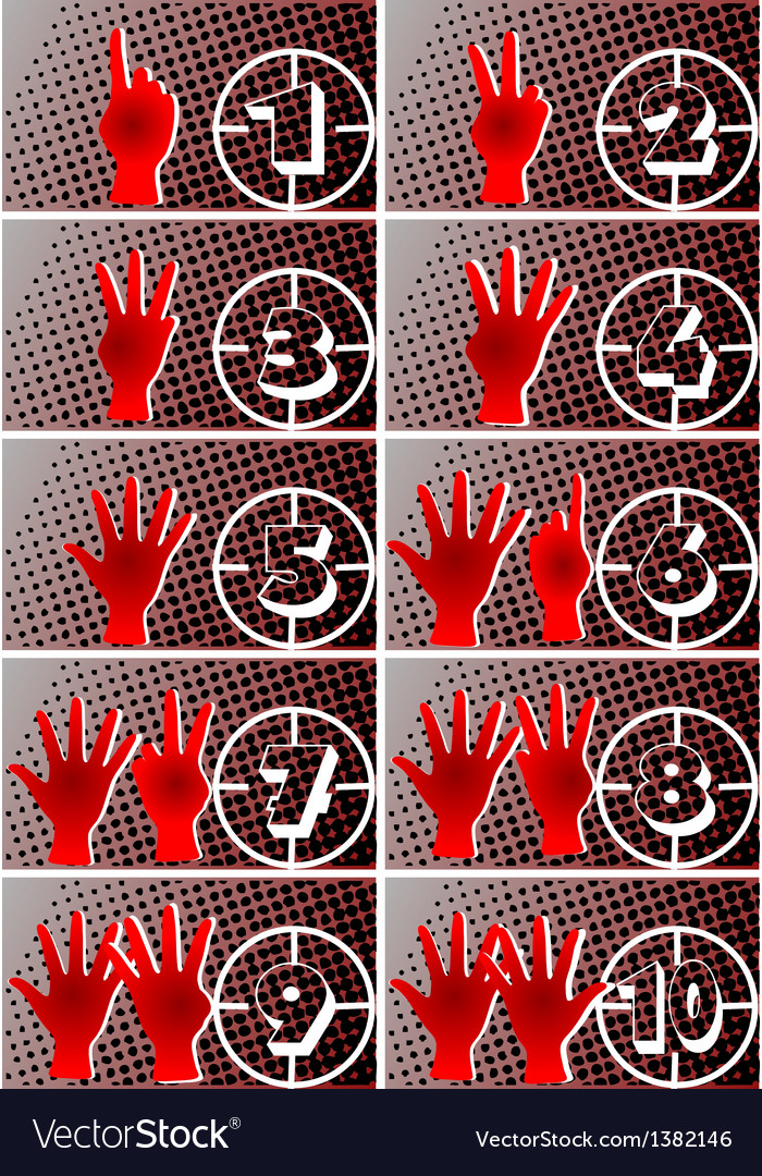 Numbers and hands vector | Price: 1 Credit (USD $1)