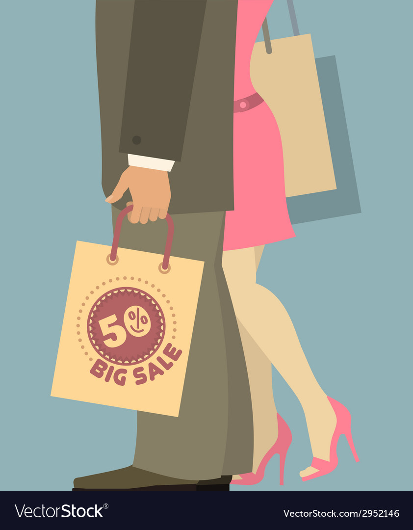 People with shopping bags vector | Price: 1 Credit (USD $1)