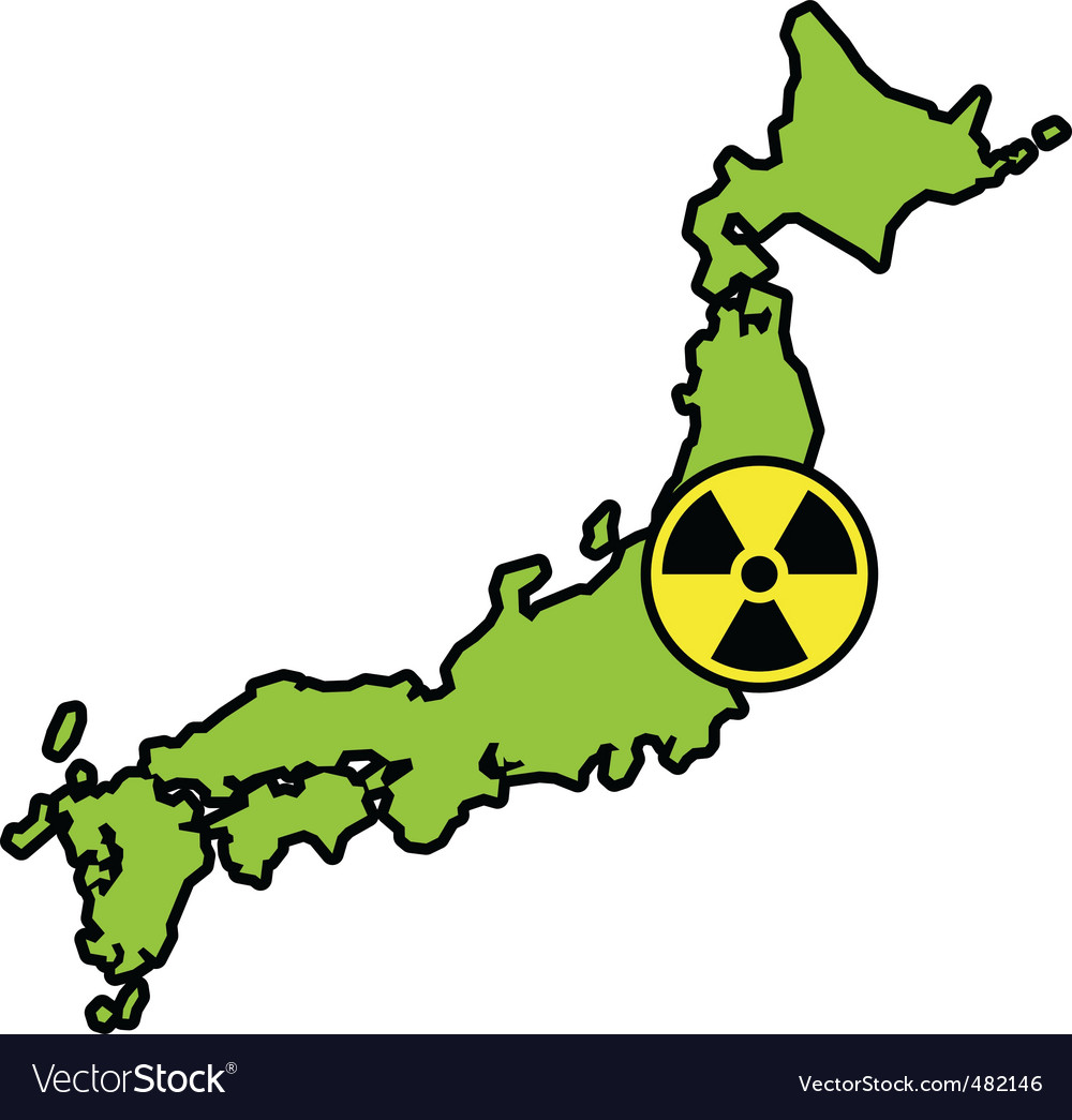 Radiation sign on japanese map vector | Price: 1 Credit (USD $1)
