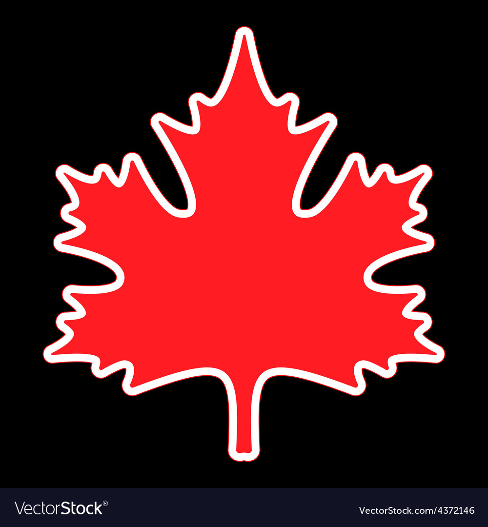 Red maple leaf with contours vector   Price: 1 Credit (USD $1)