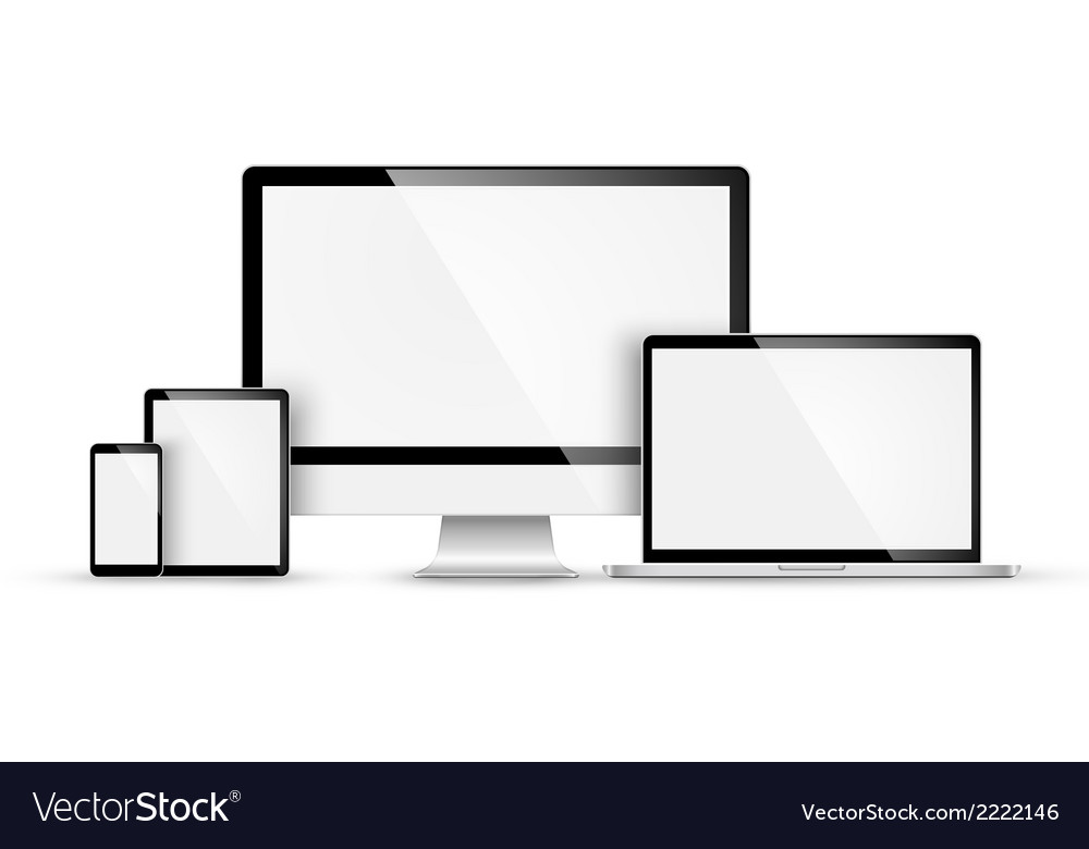 Set of modern devices vector | Price: 1 Credit (USD $1)
