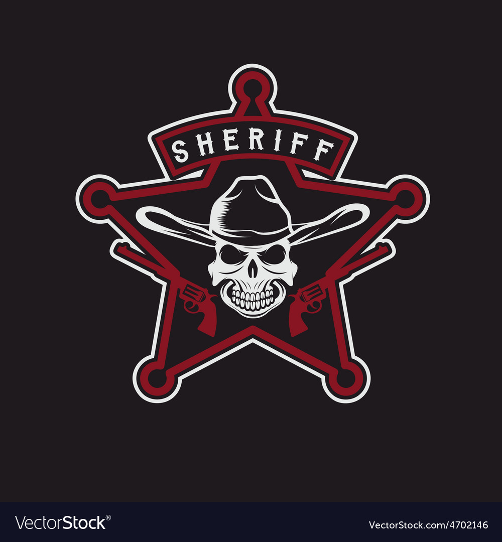 Star of sheriff with skull in hat and guns vector | Price: 1 Credit (USD $1)