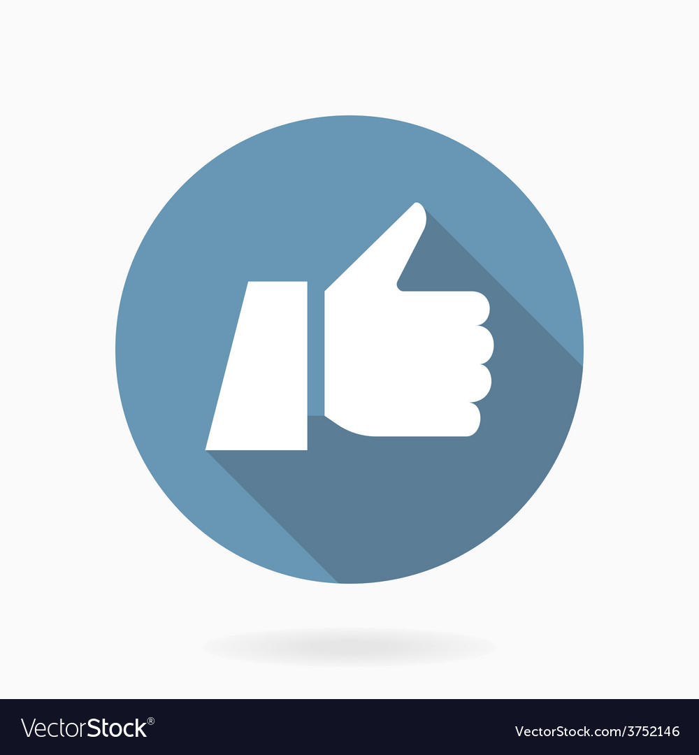Thumb up icon with shadow flat style vector