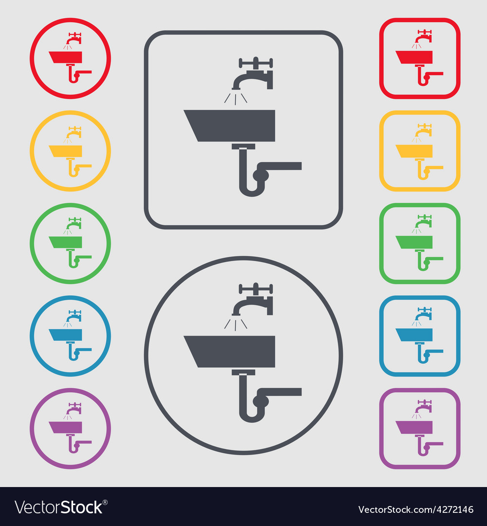 Washbasin icon sign symbol on the round and square vector | Price: 1 Credit (USD $1)