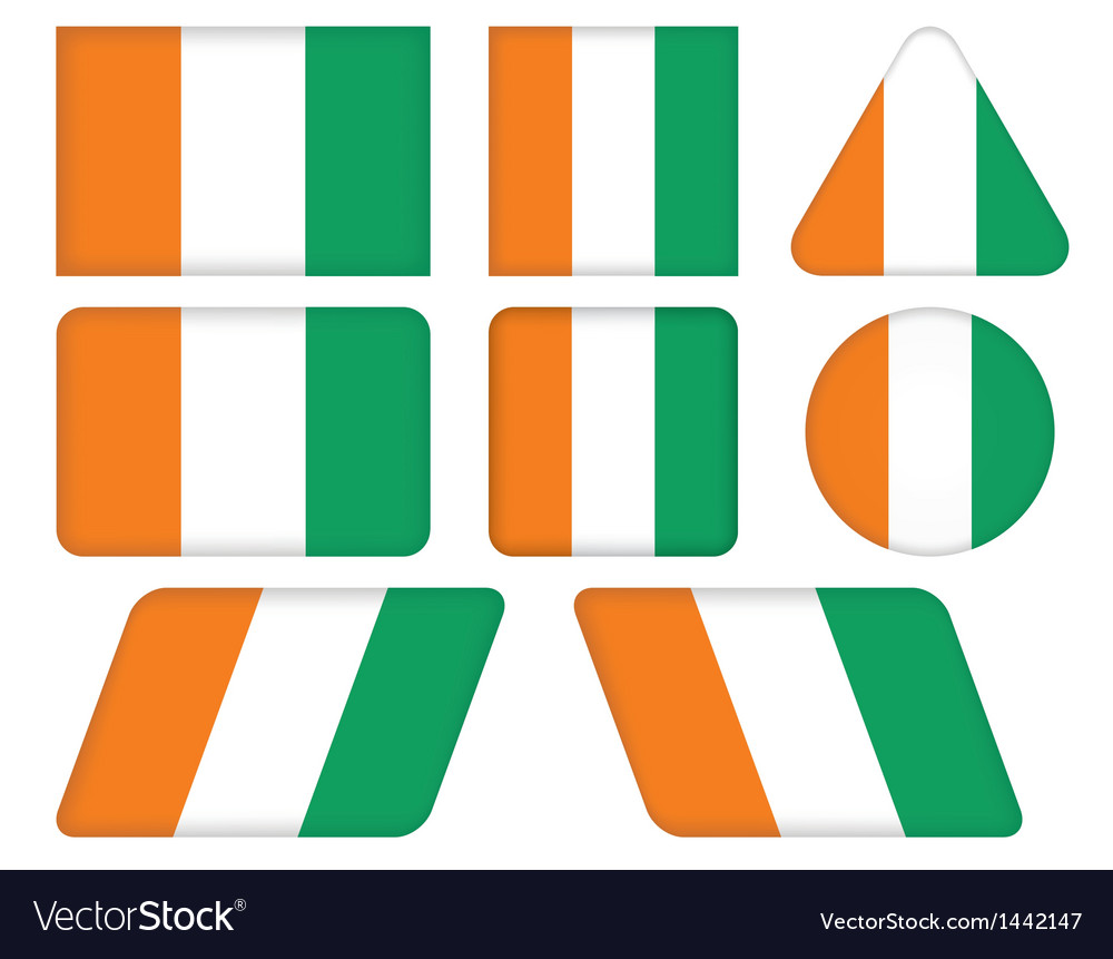Buttons with flag of ivory coast vector | Price: 1 Credit (USD $1)