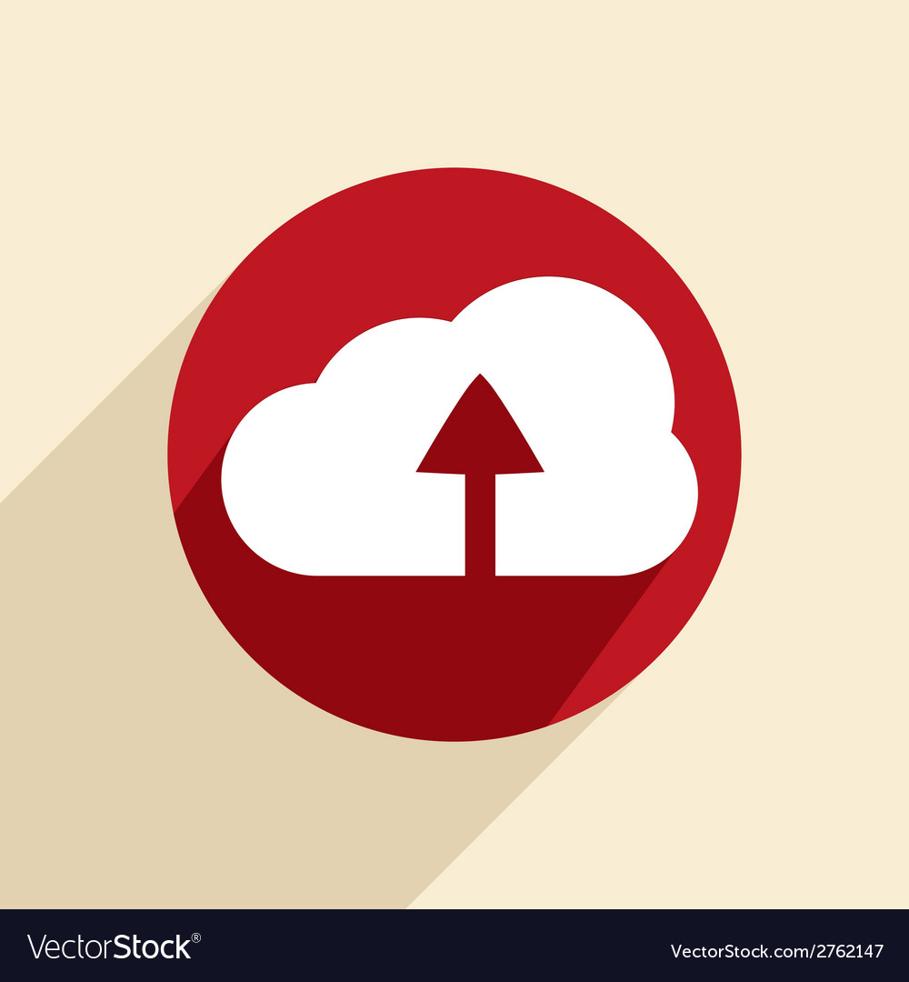 Circle blue icon with shadow cloud download vector | Price: 1 Credit (USD $1)